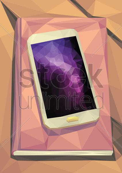 diary and smartphone vector graphic