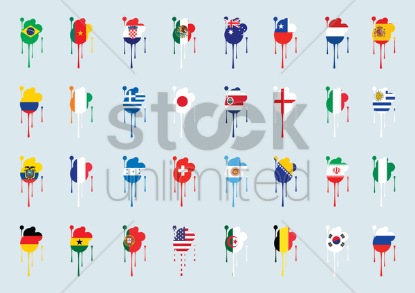 different countries flags vector graphic