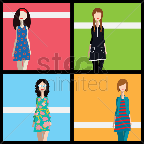 different fashion styles for women vector graphic