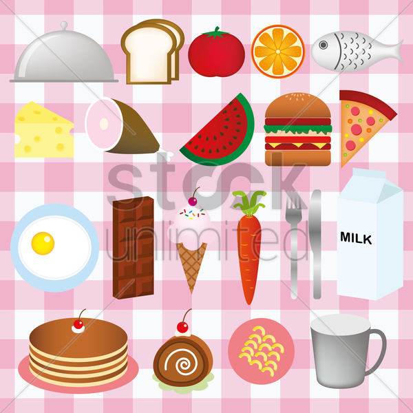 different food items vector graphic
