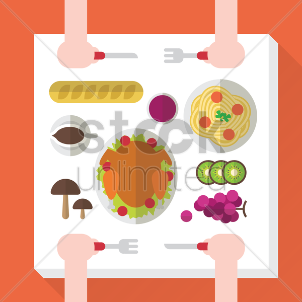 dinner table setting vector graphic