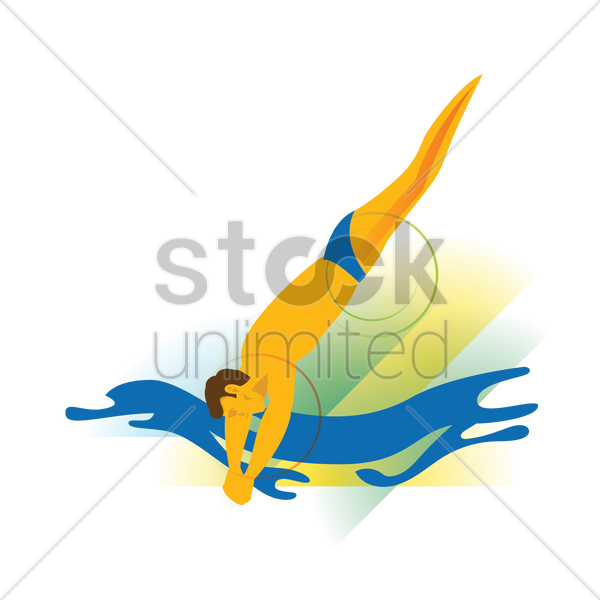 diver entering the water vector graphic