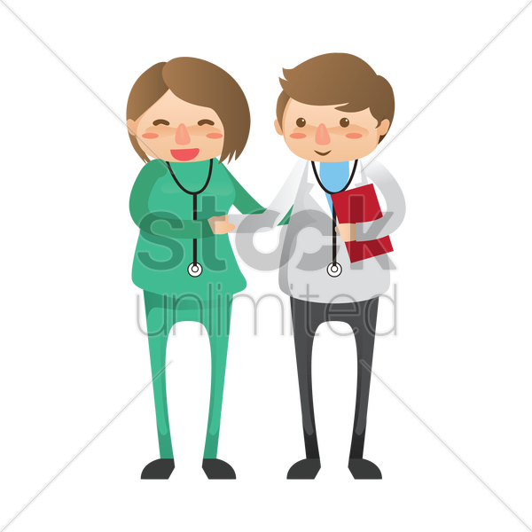 doctor and surgeon shaking hands vector graphic