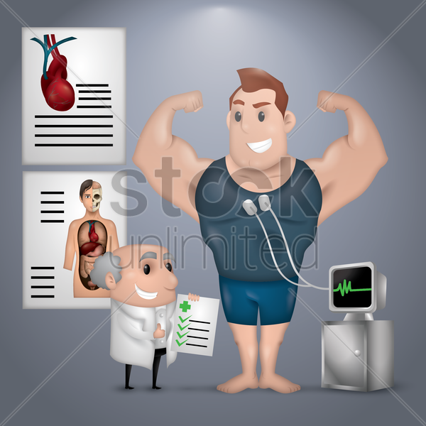 doctor checking bodybuilder vector graphic
