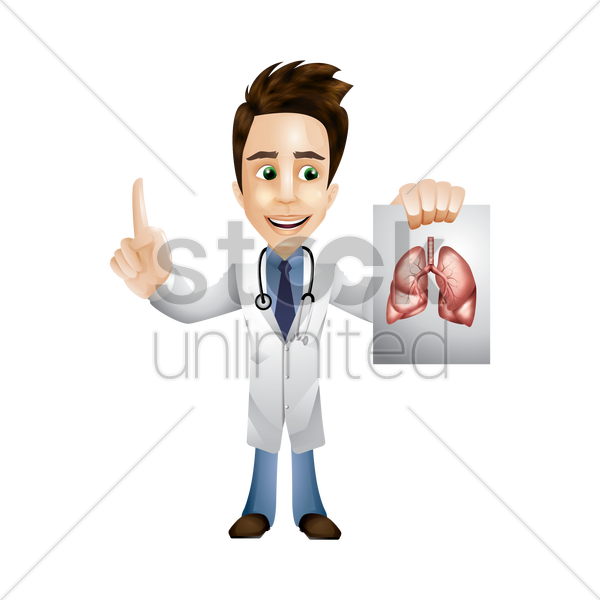 doctor holding an image of lungs vector graphic