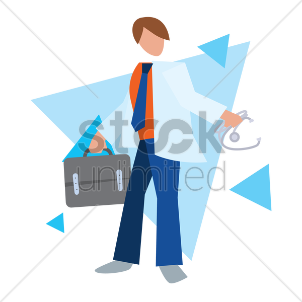 doctor holding briefcase vector graphic
