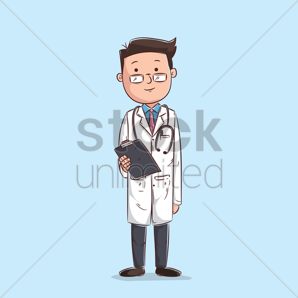 Free doctor holding clipboard vector graphic