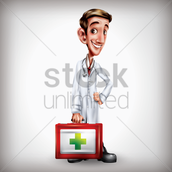 doctor holding medical kit vector graphic