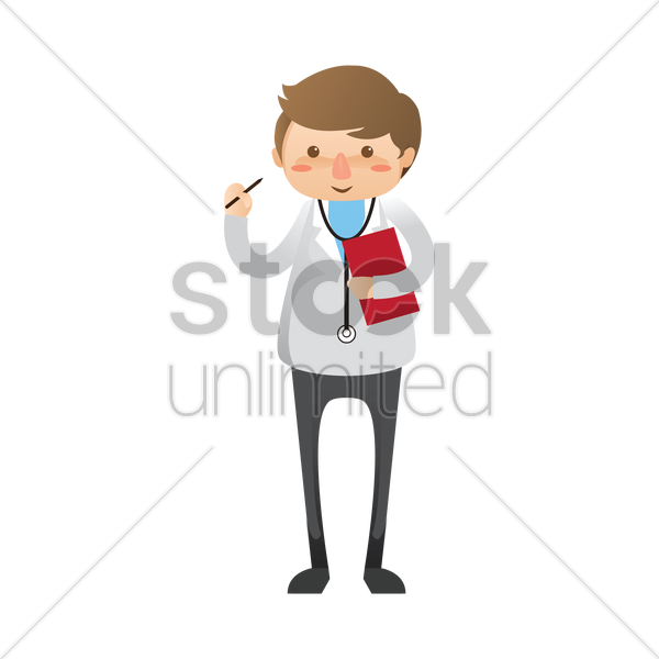 doctor holding medical report vector graphic