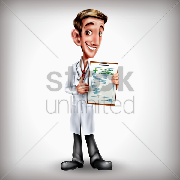 doctor showing clipboard vector graphic