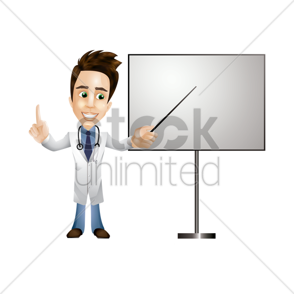 doctor showing on a whiteboard vector graphic