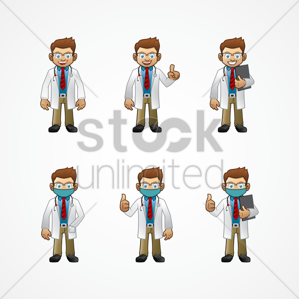 doctor with various poses vector graphic