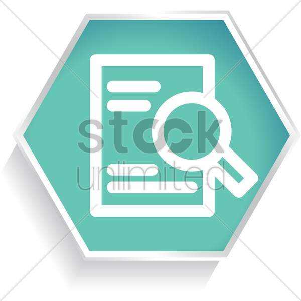 document sheet with magnifier vector graphic