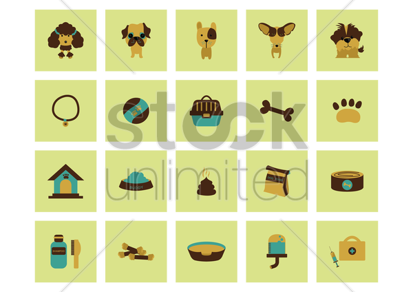 dog icons vector graphic