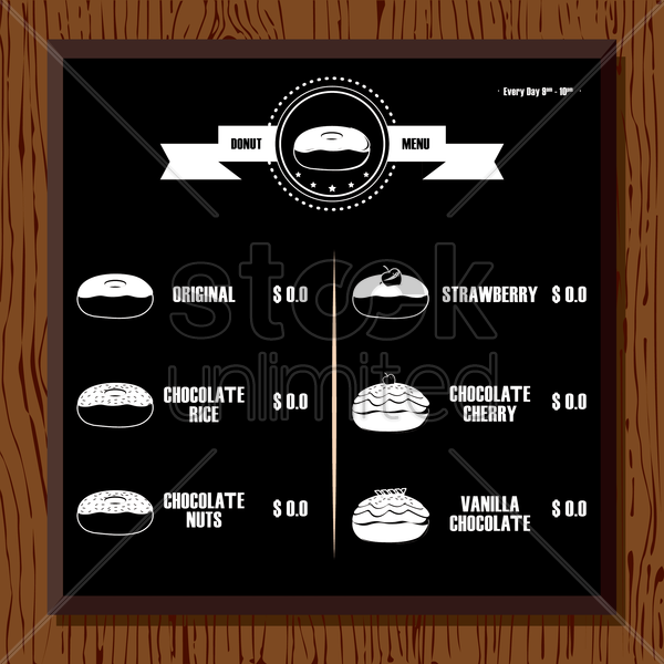 donut menu vector graphic