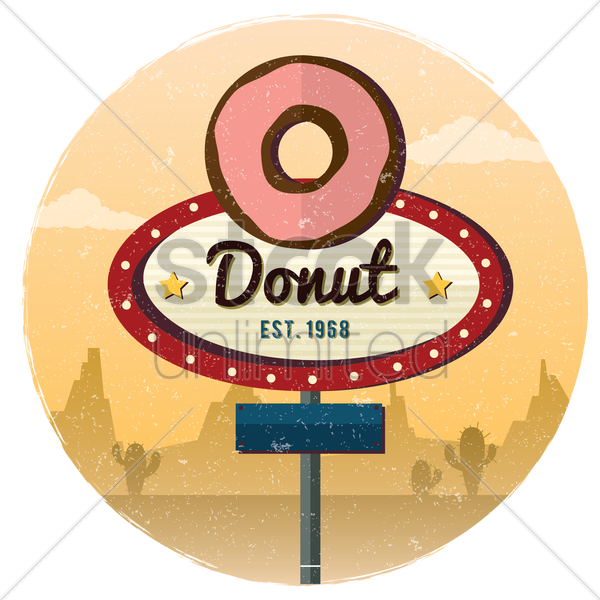 donut signboard background vector graphic