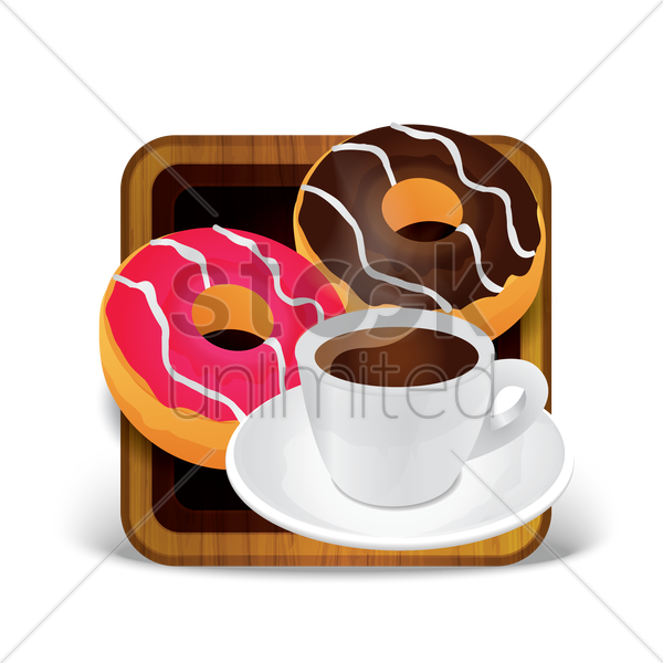 donuts with beverage vector graphic