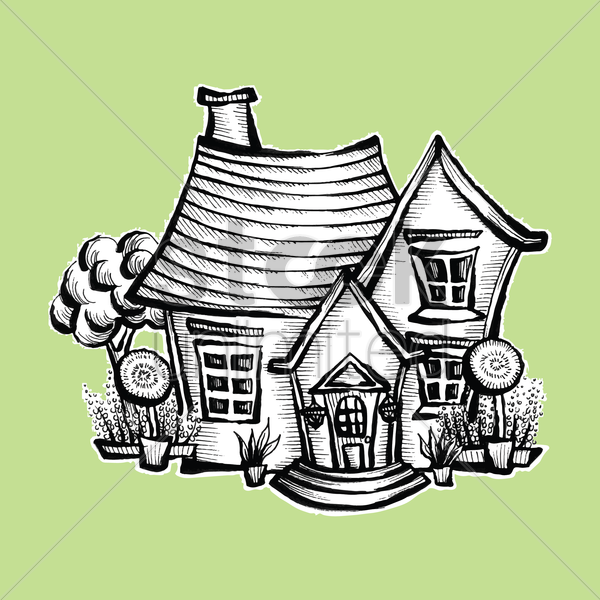 doodle house vector graphic
