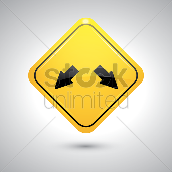double arrow w12 road sign vector graphic