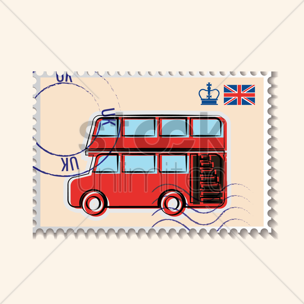 double-decker bus postage stamp vector graphic
