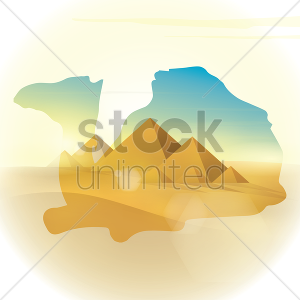 double exposure camel and desert vector graphic
