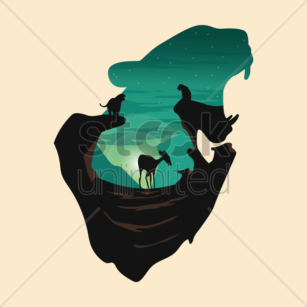 double exposure leopard and forest vector graphic