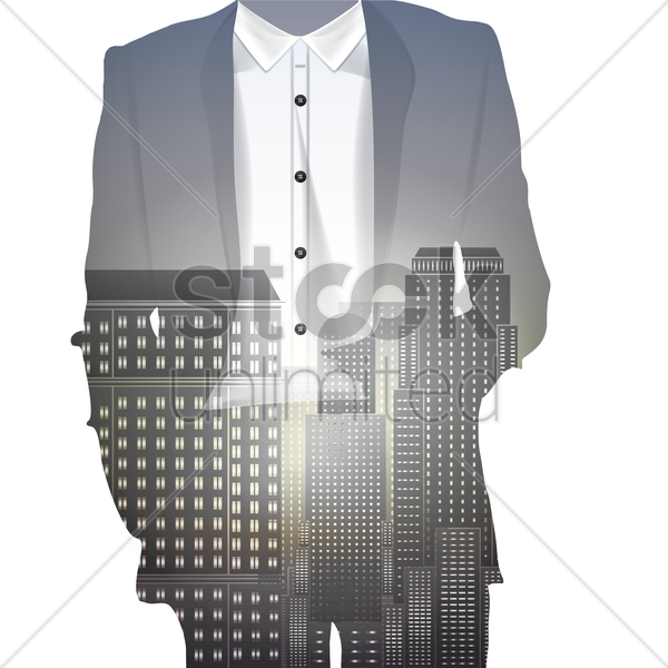 double exposure of a man and building vector graphic