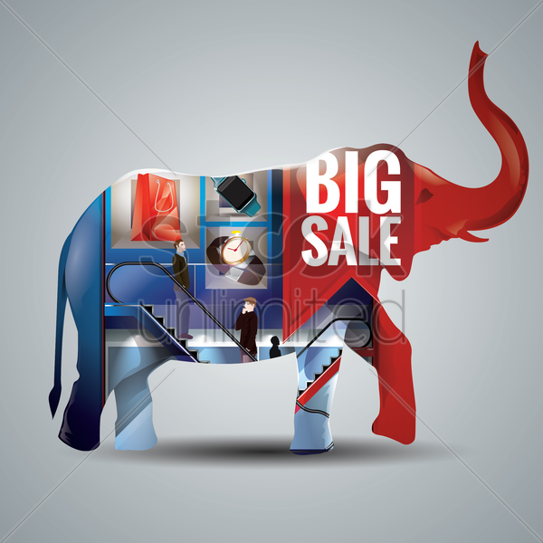 double exposure of an elephant and a shopping mall vector graphic