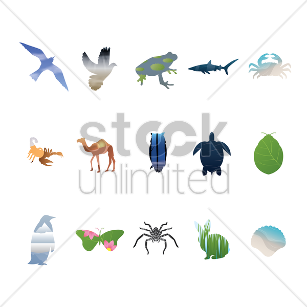 double exposure of animal collection vector graphic