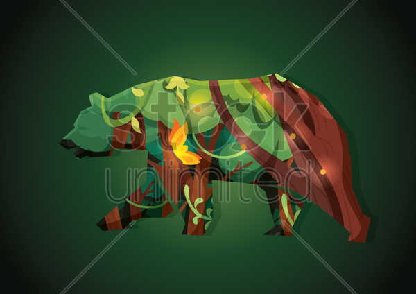 double exposure of animal silhouette and forest vector graphic