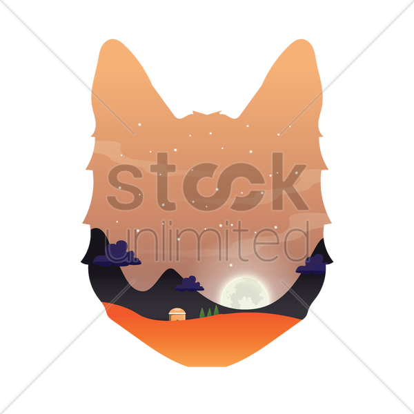 double exposure of animal silhouette and nature vector graphic