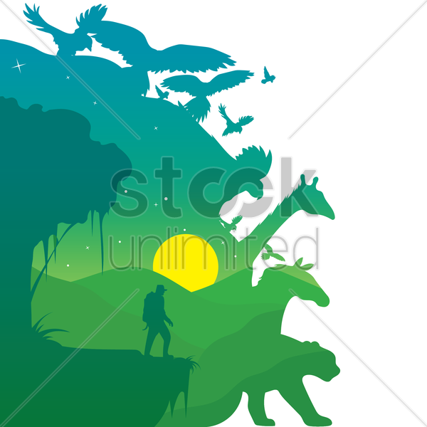 double exposure of animals and nature vector graphic