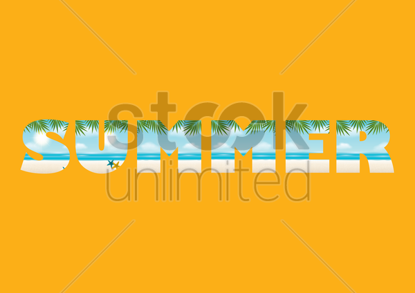double exposure of beach and summer text vector graphic