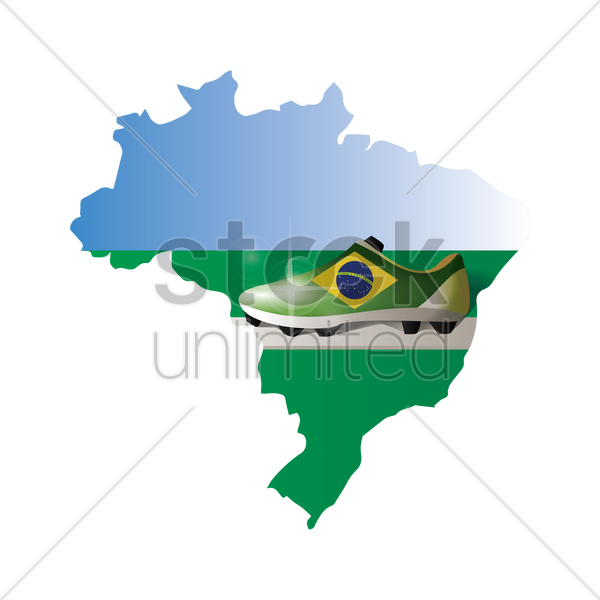 double exposure of brazil map with football shoe vector graphic
