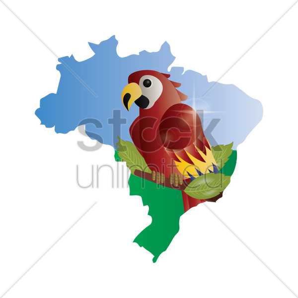 double exposure of brazil map with macaw vector graphic