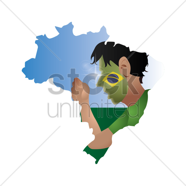 double exposure of brazil map with supporter vector graphic