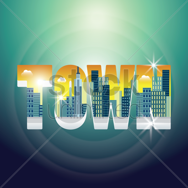 double exposure of buildings with text vector graphic