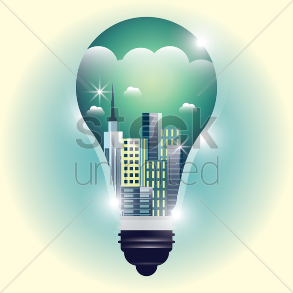 double exposure of bulb and cityscape vector graphic