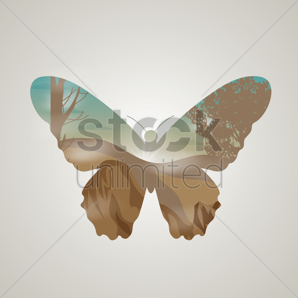 double exposure of butterfly and landscape vector graphic