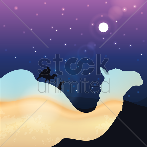 double exposure of camel and desert vector graphic