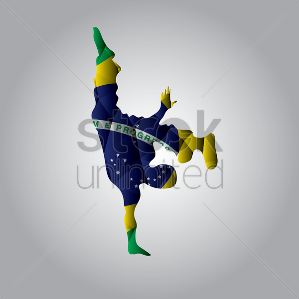 double exposure of capoeira and brazil flag vector graphic