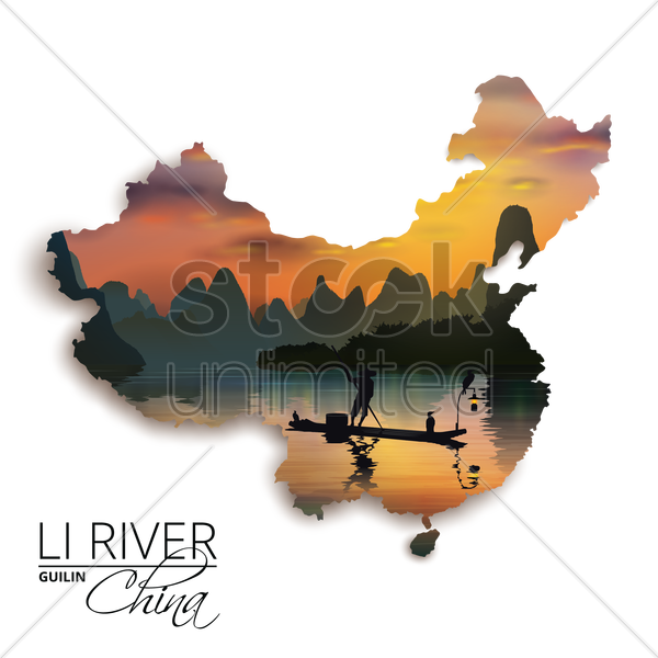 double exposure of china map and li river vector graphic