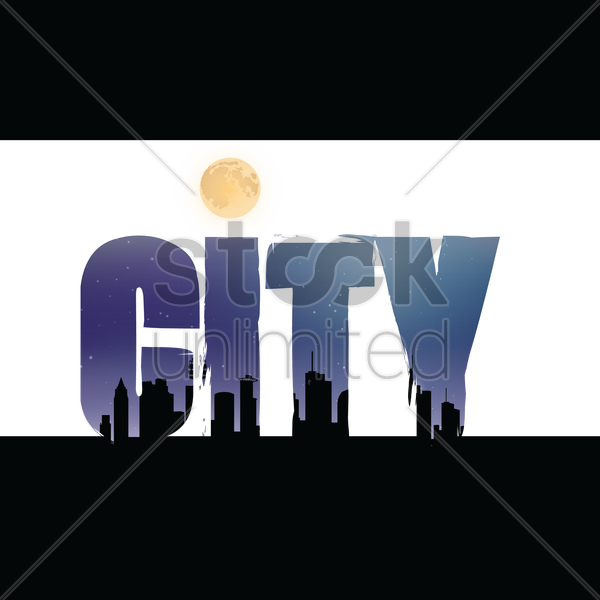 double exposure of city text with city silhouette vector graphic