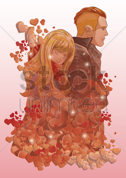 double exposure of couple and hearts vector graphic