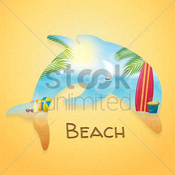 double exposure of dolphin and beach vector graphic