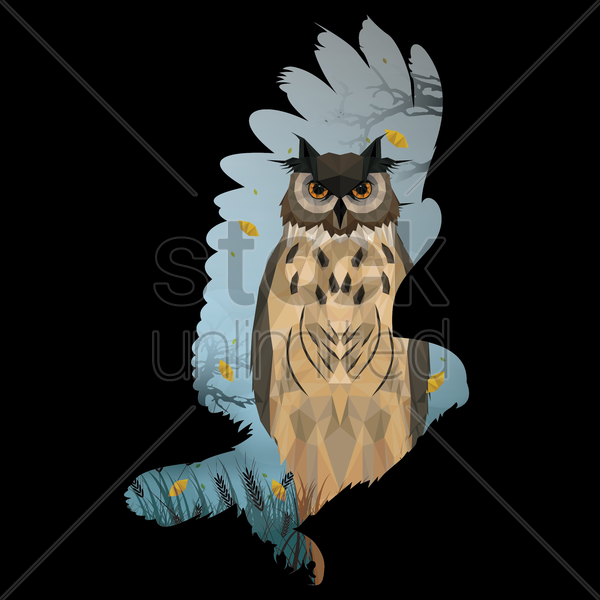 double exposure of eagle and owl vector graphic