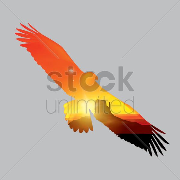 double exposure of eagle and sunset vector graphic