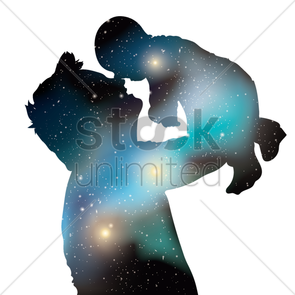 Free double exposure of father with baby vector graphic