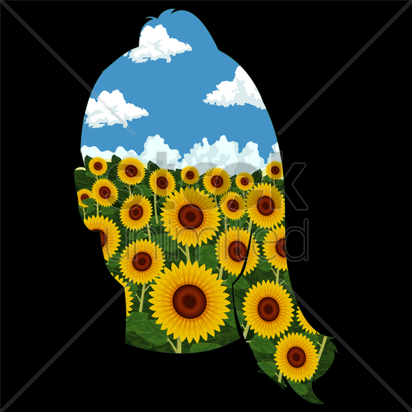 double exposure of female and sunflowers vector graphic