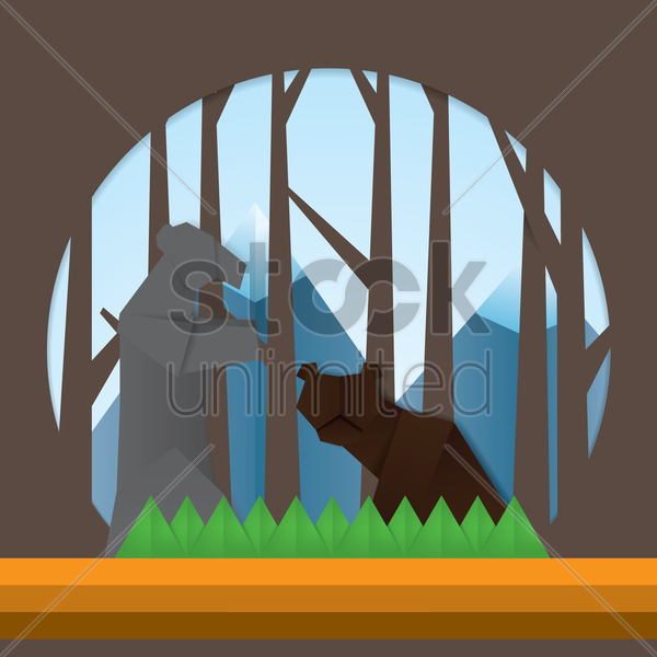 double exposure of forest and mountains vector graphic